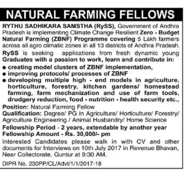 Natural farming fellow position – 30k per month
